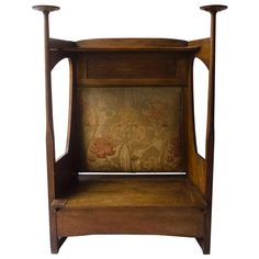 View this item and discover similar for sale at - Liberty & Co. An arts and crafts oak settle in the style of CFA Voysey, retaining it's original fabric attributed to The Silver Studio's for Liberty and Arts And Crafts Furniture, Furniture Decor, Craftsman Style Furniture, Benches For Sale, Settees, Liberty, Armchair, Cabinet, Antiques