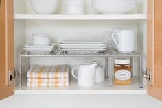 And for upper cabinets, know that extra cabinet shelves are your new BFFs.