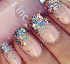 Nude, sparkle jewels #nails