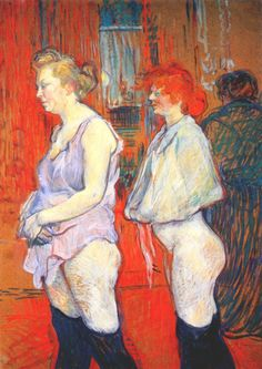 Rue des Moulin, 1894 -  Henri de Toulouse-Lautrec.  The witty, searching art of Lautrec often depicted nightclub and drinking scenes, or portrayed the denizens of Parisian low life. Here, two prostitutes are shown queuing up for a medical examination and the sadness and shame of their position in society  are held  up to our gaze. Lautrec was influenced by the Japanese and their complete freedom from conventional notions of composition; the centre of attention was often off-centre.