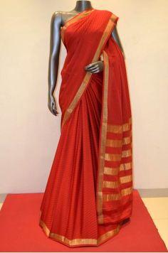 Traditional Red Jacquard Mysore Silk Crepe