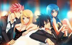 Anime Fairy Tail  Natsu Dragneel Lucy Heartfilia NaLu (Fairy Tail) Gray Fullbuster Juvia Lockser GruVia (Fairy Tail) Fondo de Pantalla