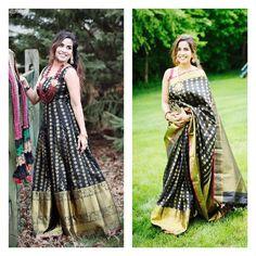 Different ways to reuse old Kanjeevaram sarees. You can convert your old sarees to lehenga, anarkalis, kurtas, dupatta and crop tops and soo many ways to reu. Saree Gown, Sari Dress, Anarkali Dress, Long Anarkali, Lehenga, Indian Wedding Gowns, Indian Gowns Dresses, Wedding Sari, Indian Outfits