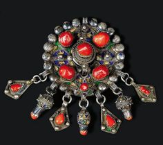 Algeria | Fibula; silver, enamel and coral | Beni Yenni, Grande Kabylie | ca. end of the 19th to early 20th century