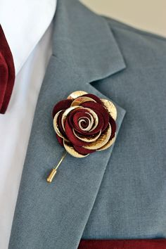 Leather burgundy rose flower pin, burgundy groomsmens boutonniere,maroon boutonniere, bordoux burgundy,gold lapel pin mens lapel flower, by NevesticaLeather on Etsy