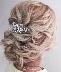 Loose Low Blonde Updo #weddinghairstyles