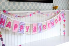 Pink and Purple Lavender Girls Happy Birthday Banner Gingham, Chevron, and dots Fabric Birthday Banner