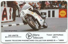 Vintage Phonecard Tony JEFFERIES - Moto Race Rider - in 1971 winner of the Formula 750 on a TRIUMPH  - 1989 Mint Collector MANX Telecom n 8