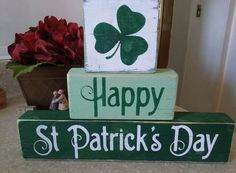 Primitive Sign Happy St Patrick's Day Shamrock Wooden Shelf Blocks Irish  #Handmade