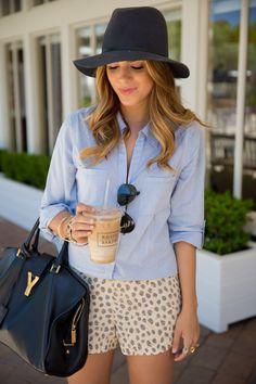 Shorts and blue dress shirt