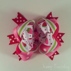 Large Stacked Boutique Bow  Strawberry Bow The by sunnytuesday, $8.00