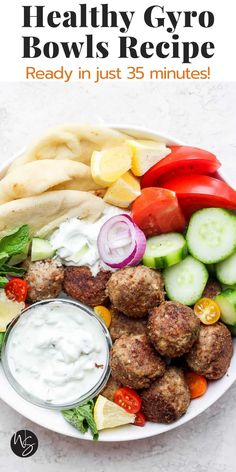 Gyro Bowls are an easy, go-to weeknight (or weekend) recipe that tastes just like your favorite gyro place! All the flavors you know and love deconstructed in one bowl. They are Whole30/Paleo friendly if you skip the naan/brown rice too! Perfectly cooked, flavorful lamb meatballs paired with an insane homemade Tzatziki Sauce (that's paleo/dairy-free) make the perfect pair! This recipe is ready in just 35 minutes. Dairy Free Sauces, Dairy Free Soup, Dairy Free Recipes, Paleo Recipes, Paleo Whole 30, Whole 30 Recipes, Weekend Recipe, Homemade Tzatziki Sauce, Quick Pickled Onions