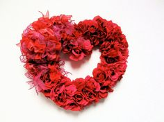 """SOLD Valentines Day Wreath Fuschia Pink and Red Silk Rose Valentines Day Spring Wreath(Approx. 20""""x 18"""")"""