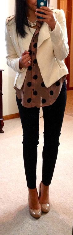 F21 Jumbo Polka Dot Shirt (in taupe/black), F21 Studded Tweed Jacket (in cream/gold), The Limited Exact Stretch Skinny Pants, Target Pearce Pumps (in camel), F21 necklace, NY watch (in rose gold)