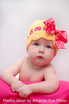 Crochet Sunny Bow Hat for Infant and Toddlers Custom por jspirik