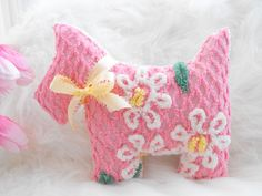 ADORABLE PINK Vintage Chenille Scottie Westie Dog Pillow With Bow.