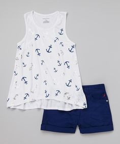 Look at this Nautica White & Navy Hi-Low Top & Twill Shorts - Toddler & Girls by Nautica Little Girl Outfits, Cute Outfits For Kids, Toddler Girl Outfits, Little Girl Fashion, Toddler Fashion, Fashion Kids, Toddler Girls, Newborn Fashion, Fashion Usa