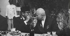 Indonesian President Sukarno with USSR President Nikita Khrushchev in Indonesia, February 1, 1960.