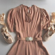 When you have found the perfect ballet pink 1930s dress and replaced the broken belt buckle with an Edwardian mother of pearl one... ✨ #1930s #1940s #vintage #ballet