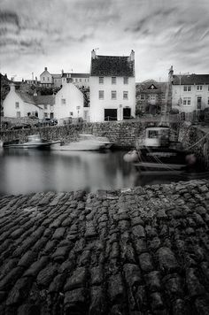 Picturesque harbour in Crail, Scotland, just asks for a black and white editing and a longer exposure shot. I hope you like it. If you do - click the Heart or Like, please. Wonderful Places, Beautiful Places, Amazing Places, Oh The Places You'll Go, Places To Visit, Glasgow Scotland, Fade To Black, Architectural Features, Ireland Travel