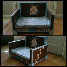 Diy Pet Sofa Bed Made From Cardboard Box And Hand Painted Dog Upcycled Kids Chair I Used Janice Harris Step By