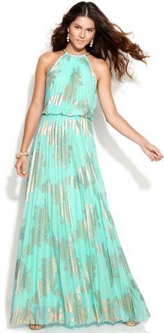 Xscape Metallic-Print Halter Gown in Green (Aqua)