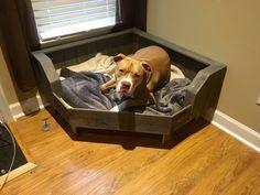 Pallet Dog Bed / Corner Fit / Handcrafted Dog Bed / Corner Dog Bed by Pallets4Paws on Etsy https://www.etsy.com/listing/268462120/pallet-dog-bed-corner-fit-handcrafted
