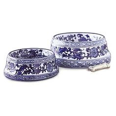 Drago needs these Chinoiserie pet bowls