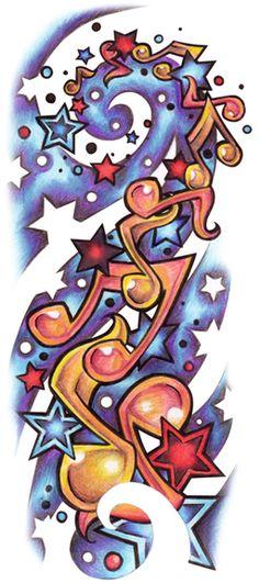 Rock n Roll Music Tattoos, Star Tattoos, Body Art Tattoos, Sleeve Tattoos, Cool Tattoos, Awesome Tattoos, Insane Tattoos, Music Notes Art, Tatto Old