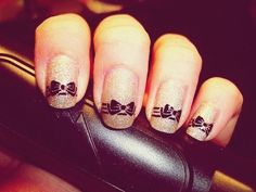 black bows in glittery gold