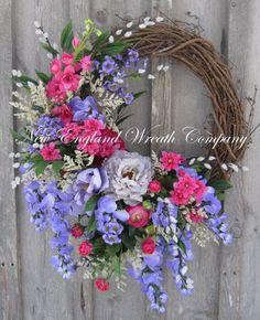 Spring Wreath, Victorian Wreath, Summer Wreath, Mother's Day, Spring Floral, Designer, Elegant Spring, Garden Wreath