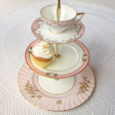 Alice Throws a Pink Party No 12, 3 Tier Cupcake Stand with Tea Cup for Mad Hatter Shower, Wedding Centerpiece Display or Girls Birthday Tray