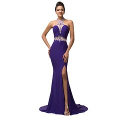 Formal Evening Dresses Robe Sirene Long Purple Mermaid Peacock Dress,Like if you are Excited!Visit us