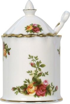 Royal Albert Old Country Roses Preserve Jar with spoon