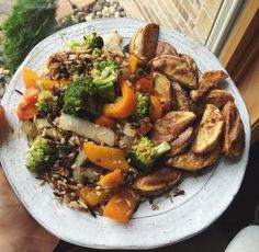 wild rice with balsamic sautéed veggies and baked potato wedges