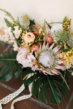 Tropical King Protea bouquet from Layered Vintage | Photo by Plum & Oak