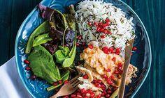 Escalopes de frango com molho de romã e arroz selvagem