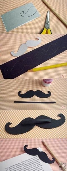 13. #Mustache Bookmark - Save My #Page! 30 Cute DIY Bookmarks to Make & Use ... → DIY #Corner