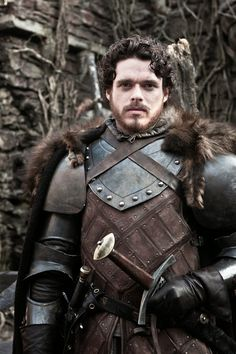 Robb Stark | Game of Thrones Costume by Michele Clapton -- Rob Stark only had 1 costume from when he went to war, matted furs, smelling of dung and sweaty leather, costume appears worn unlike Joeffrey's plate armour which is pristine, not one scratch on it
