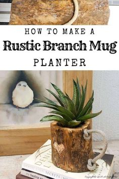 This eco-friendly branch mug planter is quick and easy to make and will add a touch of rustic elegance to your home decor. They make great gifts too #planterideas #acraftymix #ecofriendly #giftideas #branchrepurpose #branchmug Diy Furniture Projects, Easy Diy Projects, Wood Projects, Vertical Planter, Indoor Plant Pots, Growing Succulents, Little Plants, Ceramic Flowers, Rustic Elegance