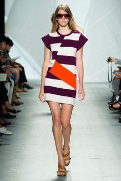 Lacoste   Spring 2015 Ready-to-Wear   35 White/purple/orange striped short sleeve mini dress