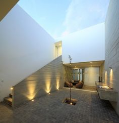 Inner courtyard at La Isla House, Lima, Peru by Llosa Cortegana Architects