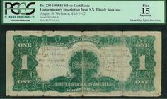 Titanic Survivors, Titanic Artifacts, Silver Certificate, Rms Titanic, People Of The World, Fun Facts, Vintage World Maps, Auction, The Unit