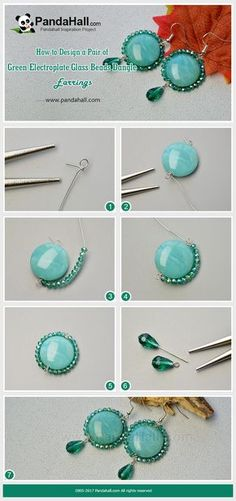 PandaHall Inspiration Project---Green Electroplate Glass Beads Dangle Earrings Cut a piece of wire and thread a green imitation gemstone acrylic bead, and then string some green electroplate glass beads to coil the big acrylic bead. By adding a greed drop glass bead dangle and an earring hook, you can get a pair of delicate earrings. #PandaHall #jewelry #earrings #diy #tutorial #craft #promotion #wire