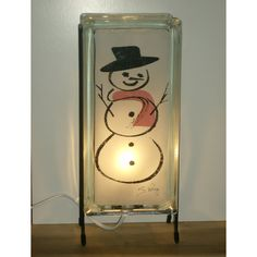 SNOWMAN glass block night light FREE SHIPPING upcycled handmade accent... ($60) ❤ liked on Polyvore featuring home and lighting