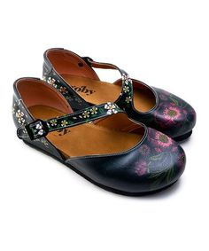 c4c500bcc6bd Goby Black   Plum Floral Asymmetrical Mary Jane - Women