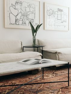 Follow me on Pinterest @bekahhopeofficial 》 minimal living area with pretty coffee table and white  couch on persian rug.