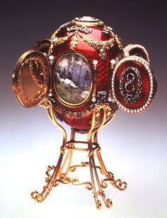 """Faberge Egg 1893 - """"Caucasus Egg"""" This egg is in Nashville, TN. It depicts the imperial hunting lodge."""