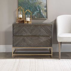 Showcasing understated style, this two drawer chest is layered in a dark walnut finished oak veneer accented with herringbone drawer fronts. Rests on a steel base in plated brushed brass with coordinating drawer pulls. Accent Furniture, Home Furniture, Furniture Design, Brown Furniture, Furniture Ideas, Large Drawers, Chest Of Drawers, Accent Chests And Cabinets, Painted Fox Home