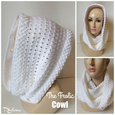 Crochet Patterns Blusas The Frolic Cowl ~ FREE Crochet Pattern - Free crochet pattern for the The Frolic Cowl. The cowl has a nice texture along the edge with some pretty lace in the middle. Crochet Hooded Cowl, Crochet Cowl Free Pattern, Crochet Shawl, Crochet Stitches, Free Crochet, Knitting Patterns, Knit Crochet, Scarf Patterns, Cowls
